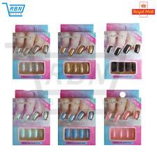 Perfect 12 False Nail Tips in 6 Colours Fake Nails Full nail Art Coffin Shape