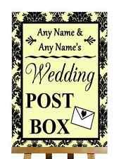 Yellow Black Damask Post Box Personalised Wedding Sign
