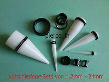 verschiedene Sets 1,2mm-24mm Tunnel Titan eloxiert schwarz Dehnstab Acryl weiß