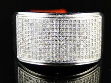 MENS WHITE GOLD FINISH ROUND CUT WHITE DIAMOND PAVE WEDDING BAND RING 0.75 CT