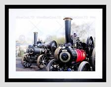 PHOTO ANTIQUE STEAM TRACTION ENGINE ENGLAND UK RESTORATION FRAMED PRINT B12X7571