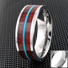 8mm Titanium Hawaiian Koa Wood & Turquoise Wedding Band Ring-Engraving Avail.