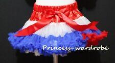 Red White Blue Full Pettiskirt Skirt Party Dance Tutu Child Girl Dress 1-8Y