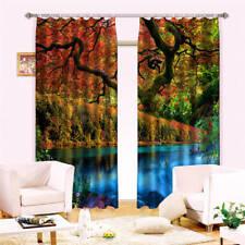 Magic Forest Lake 3D Blockout Photo Curtain Print Curtains Fabric Kids Windows