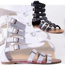 Sandali donna gladiatore strass fibbie zip nuovi K801