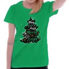 Bright Merry Christmas Shirt Santa Claus Holiday Tree Cards Ladies Tee Shirt T