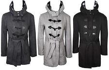 Womens Ladies Plus Size Pile Cappuccio Cintura Montgomery Cappotto Lungo 20 22