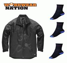 Dickies Fulton Contract Jacket, Waterproof Work Coat Black FREE SOCKS