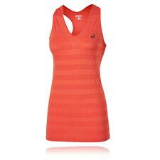 ASICS Fuse X Womens Orange Seamless V Neck Gym Training Sports Singlet Tank Top