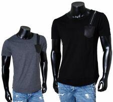 Rerock Oversized Herren T-Shirt lang asymmetrisch tiefer Rundhals Ausschnitt