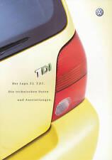 VW LUPO 3 L TDI prospetto dati tecnici 4 02 2002 AUTO AUTOMOBILI AUTO prospetto auto