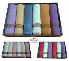 Set 12 asciugamani spugna. VINGI RICAMI, MELANGE. 6 Viso + 6 ospite. 100% Cotone