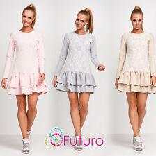 Womens Mini Tiered Dress Lacy Fabric Long Sleeve Clubwear Sizes 8 - 12 FA450