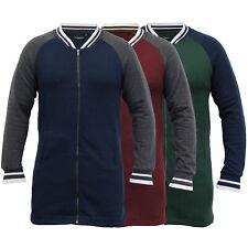 mens long line sweatshirt Brave Soul baseball zip fleece lined casual winter