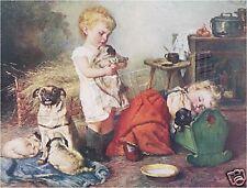 VICTORIAN Children PUGS Vintage CANVAS Dog Art ~ LARGE