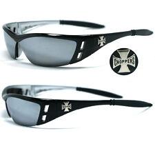 Choppers Bikers Mens Sunglasses - Black / Mirror Lens C46