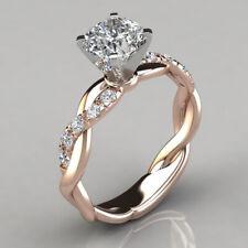 New 18K Gold 925 Silver Twist Princess Moissanite Engagement Women Rings