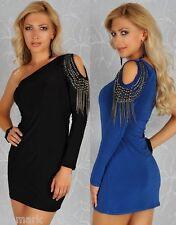 518 Trendy Clubbing Party One Shoulder Chain Straps Black Blue Dress S/M & M/L