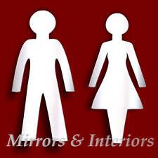 Da Uomo/Donna toilette sign Infrangibile Specchio in acrilico