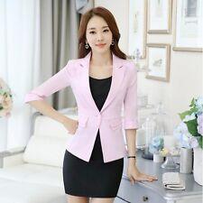 traje chaqueta de mujer ceñido corta manga larga claro rosa cipria verano S9011