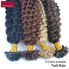 50cm Gelockt U tip Hair Extensions Echthaar Haarverlängerung Keratin Bonding