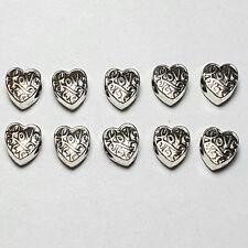 Großlochperlen 5/10 Herz mit Love Schrift Beads Metallperlen für Paracord silber