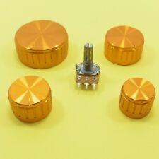 Mono B Lineal Potenciómetro Ohm Mezclador Volumen Tono Perilla De Aluminio Dorado Lin Tapa