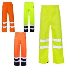 Mens Hi Viz Vis Safety Waterproof Rain Cover Trouser High Work Elasticated Pant