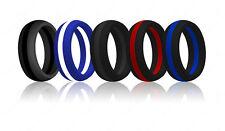 Striped Silicone Wedding Ring Band Thin Line FlexFit Medical Grade Athletic Men