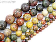 Natural Picasso Jasper Gemstone Round Beads 16'' Strand 4mm 6mm 8mm 10mm 12mm