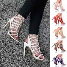 Tacón alto Para Mujer Damas Tie Up enjaulado Gladiador Sandalias De Tiras Nudo Zapatos Talla