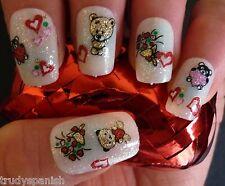 Valentines Teddies Flowers Glitter Hearts 3D Design Nail Art Stickers Decals 973