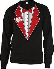 Tuxedo Shirt Lapels Bow Tie Heart Buttons Fake Wedding Love Tux Do Men's Thermal