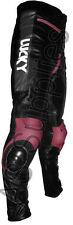 """lucky strike"" new noir/rose en cuir moto pantalon pantalon-toutes tailles!"