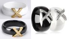 Keramik Ring Bandring weiß / schwarz Kreuz Edelstahl gold / silber