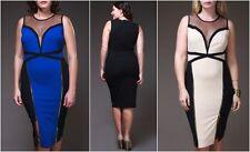 PLUS MESH INSERT ZIPPER BLACK OFF WHITE BLUE BODYCON COCKTAIL DRESS NEW 1X 2X 3X