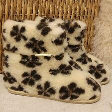 100% Sheep Wool Boots Cozy Foot Slippers Hard Sole Sheepskin Womens Mens Flowers