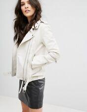 Women Leather Jacket White Biker Motorcycle Size XS S M L XL XXL