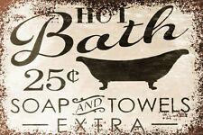 Hot Bath Advert Retro Vintage Style Metal Sign, Plaque, bathroom, home