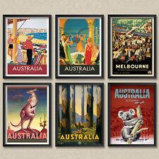 A4 Vintage Travel Australia Melbourne Kangeroo Koala Victoria Posters