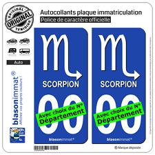 2 Stickers autocollant plaque immatriculation Auto : Scorpion Symbole