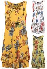 Womens Sleeveless Lined 100% Cotton Floral Print Hi Lo Dipped Hem Midi Dress