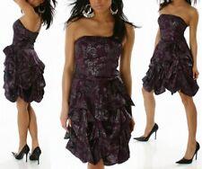 Sexy Damen Bandeau Kleid drapiert lila silber Blumen print Abend Dress 34 NEU