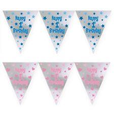 12ft largo 1º Primer Cumpleaños Niño Niña Rosa Azul Papel de aluminio banderín