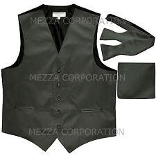 New Men's dark grey vest Tuxedo Waistcoat self tie bow tie and hankie set