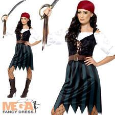 Pirate Deckhand Ladies Fancy Dress Buccaneer Sea Caribbean Womens Adult Costume