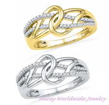 10K GOLD STUNNING STYLE LOVELY LINKED FOREVER WHITE DIAMOND PROMISE RING