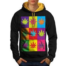 Weed Cannabis Leaf Rasta Men Contrast Hoodie NEW | Wellcoda