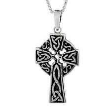 "Sterling Silver Celtic Cross Pendant / Charm, 18"" Italian Box Chain"