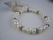 Süsswasser Perlen Armband elastisch 7mm Perle mit Zirkonia Ringen